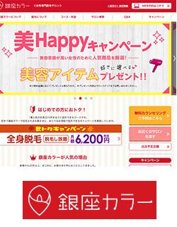 銀座カラー TOP画面